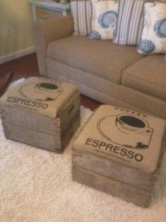 I made these foot stools using an old apple crate and burlap coffee bean bag need to find fruit crates! Coffee Uses, Coffee Type, Best Coffee, Coffee Shop, Espresso Coffee, Nyc Coffee, Portland Coffee, Seattle Coffee, Starbucks Coffee