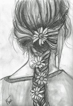 Beautiful pencil sketch hair...with the addition of pretty Daisies