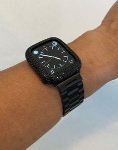 Apple Watch Bands Mens, Black Apple Watch Band, Apple Watch Bands Fashion, Apple Watch Accessories, Lab Diamonds, Watch Case, Rolex, Bling, Unique Jewelry