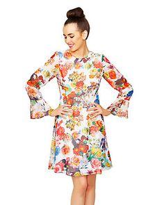 FLOWERING CHIFFON TIE-BACK DRESS