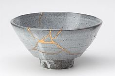 Kintsugi is a method for fixing broken ceramics with gold to create a more beautiful object.  http://www.thisiscolossal.com/2014/05/kintsugi-the-art-of-broken-pieces/