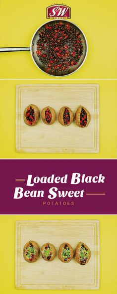 These Loaded Black Bean Sweet Potatoes are bursting with flavor and bursting at the seams! That's because they use our Recipe Collection beans with added veggies and spices for extra taste. Take your beans up a notch. S&W Beans Raw Vegan Recipes, Healthy Recipes, Vegan Food, Black Bean Recipes, Vegetarian Cheese, Recipe Collection, Black Beans, Sweet Potato, Yams