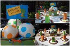 baby shower, dinosaurs, dino eggs, centerpieces. Popular with the Poplins