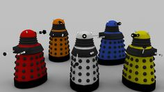 2010 New Dalek Paradigm Set.  Original Poser 3D model creator unknown.  OBJ conversion to LWO and surfacing/texturing by me.  If you are the creator of the original model, let me know and credit will be applied.
