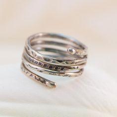 Fine Silver Wire Wrapped Oxidized Stamped Fused by JewelrybyChar, $44.00