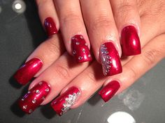 Beautiful Red Bling Nails