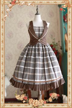 The Memory of Old Days ~ British Style Lolita JSK Dress & Vest Set -Pre-order