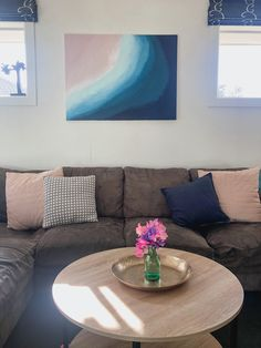 'Summer Surf' on the wall waiting for a new home. Original acrylic artwork by Stef Le Gros Art Summer Surf, Summer Sunset, Acrylic Artwork, Ocean Sunset, Floating Frame, Frame It, Artworks, Art Pieces, Waiting