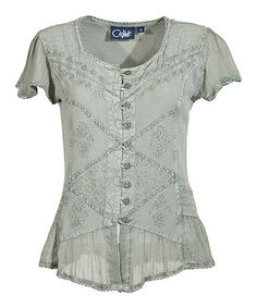 Another great find on #zulily! Sage Green Embroidered Button-Up Top #zulilyfinds