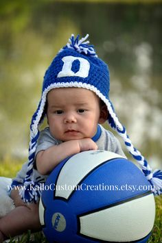 f25c3805e54 Crochet hand embroidered Duke Hat with earflaps and braids. Newborn to  adult sizes available. by KailoCustomCreations on Etsy