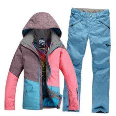 Gsou Snow Patchwork Women Ski Suit Waterproof Snowboard Winter Sport Jacket  Windproof Warm full suit Cheap f5de5e7b1