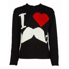 Black 'I Love Moustache' Print Jumper ($19) ❤ liked on Polyvore