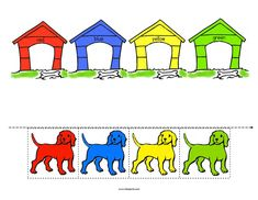 Dogs and pets theme activities, printables, centers and games for preschool, pre-K and Kindergarten. Preschool Colors, Teaching Colors, Toddler Preschool, Classroom Activities, Toddler Activities, Preschool Activities, Pet Theme Preschool, Preschool Printables, Classroom Pets