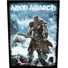 Official sew on printed back patch from Swedish death metal band Amon Amarth featuring Jomsviking design.