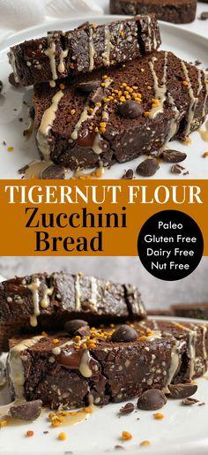 This tigernut flour zucchini bread is the best tigernut flour recipe! Grain free, gluten free and dairy free, this tigernut bread is a healthy treat for breakfast or dessert. It's made with tigernut flour, cocoa powder, tapioca flour, eggs, avocado oil, zucchini and maple syrup. A delicious chocolate Paleo zucchini bread! #tigernutflour #zucchinibread #zucchini #tigernuts #paleobread Healthy Gluten Free Bread Recipe, Paleo Zucchini Bread, Chocolate Zucchini Bread, Dairy Free Recipes, Paleo Recipes, Snack Recipes, Flour Recipes, Paleo Chocolate Chips, Chocolate Recipes