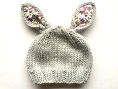 The Blueberry Hill Bunny Gray with Purple Knit Baby Hat: just in time for Easter!