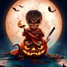 Fan-art of the movie Trick 'r Treat. Happy Halloween, Halloween Horror, Fall Halloween, Trick Or Treat Sam, Trick R Treat Movie, Halloween Artwork, Halloween Pictures, Halloween Backdrop, Arte Lowrider