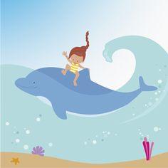 Avondster: illustratie meisje op dolfijn - Avondster: illustration girl on dolphin