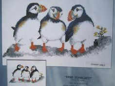 See Sally Sew-Patterns For Less - Fish Tonight Valerie Pfeiffer Baby Puffin Bird Design Cross Stitch Chart, $10.99 (http://stores.seesallysew.com/fish-tonight-valerie-pfeiffer-baby-puffin-bird-design-cross-stitch-chart/)