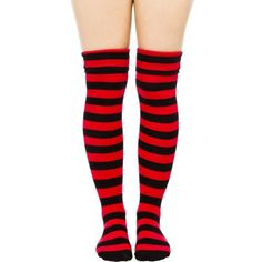"""Sourpuss Button Stripes 20"""" Black/Red Socks ($9.67) ❤ liked on Polyvore featuring intimates, hosiery, socks, striped socks, red striped socks, red hosiery, button socks and red socks"""