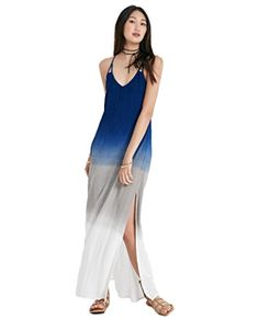 Prime Day Deal (20% off) - Wet Seal Women's Strappy Back Dip Dyed Maxi Dress XS Blue...