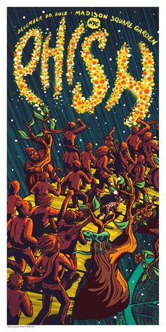 INSIDE THE ROCK POSTER FRAME BLOG: Tonight's Phish Poster from New York City by James Flames Night 1