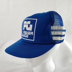 fdaddd01853 3 Stripe Mesh Snapback Hat Blue White GM Fisher Guide Indiana Cap Made in  USA 2