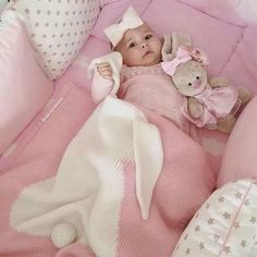 Adorable Cotton Bunny Blanket Do you Want to Get your baby something they will Love 😍❤️💚 Get yours h Bunny Blanket, Pink Baby Blanket, Baby Pillows, Baby Girl Blankets, Little Babies, Cute Babies, Baby Kids, Baby Boy, The Babys