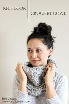 "This is a great ""knit"" cowl but guess what - it's crochet! Delia Creates made this adorably cozy cowl with our Wool-Ease Thick & Quick. Crochet Cowl Free Pattern, Love Crochet, Crochet Crafts, Crochet Yarn, Crochet Patterns, Cowl Patterns, Chunky Crochet, Double Crochet, Knitting Patterns"
