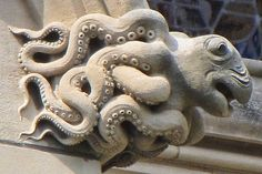 Octopus gargoyle at the National Cathedral, Washington, DC. Photo by Victoria Pickering (flickr).