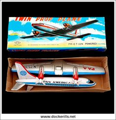 Twin Prop Plane, TAKATOKU, Japan. (Picture 1 of 2). Vintage Tin Litho Tin Plate Toy. Friction Drive Mechanism With Spinning Propellors. Photo in DOCKERILLS - TIN TOY REFERENCE - JAPAN - Google Photos