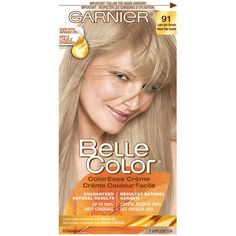 Shop for Belle Color 91 Light Ash Blonde by Garnier Natural Ash Blonde, Light Ash Blonde, Garnier Hair Dye, Dyed Blonde Hair, Luxury Beauty, Grey Hair, Argan Oil, Creme, Color