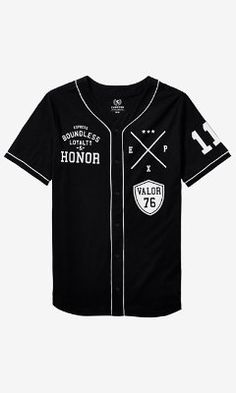GRAPHIC BASEBALL JERSEY  - LOYALTY AND HONOR from EXPRESS  - that should be mine!