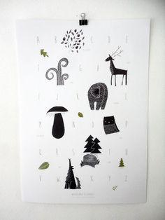 Woodland Alphabet A2 poster
