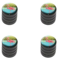 """(4 Count) Cool and Custom """"Diamond Etching Tropical Flamingo Top with Easy Grip Texture"""" Tire Wheel Rim Air Valve Stem Dust Cap Seal Made of Genuine Anodized Aluminum Metal {Coal Kia Black and Pink Colors - Hard Metal Internal Threads for Easy Application - Rust Proof - Fits For Most Cars, Trucks, SUV, RV, ATV, UTV, Motorcycle, Bicycles}"""