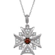 Diamond and Garnet Cross Necklace, click to be directed for purchase!