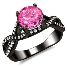 Amazon.com: 2.05ct Round Pink Sapphire Diamond Engagement Ring 18K Black Gold: Jewelry