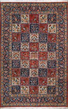 "Buy Bakhtiari Persian Rug 6' 11"" x 11' 0"", Authentic Bakhtiari Handmade Rug"