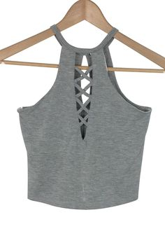 brooke crisscross racer neck crop top