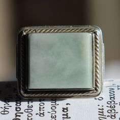 875 Silver USSR Ring with Agate stone, stamped star