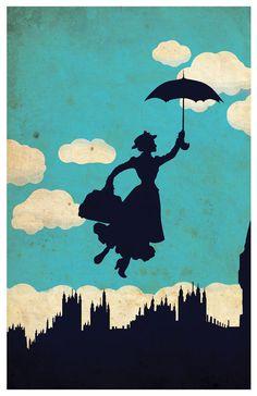Vintage Disney movie poster Mary Poppins by MINIMALISTPRINTS