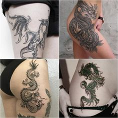 dragon tattoos - dragon tattoos meaning - dragon tattoo on thigh. Explore more Tattoo ideas on positivefox.com #collage #dragontattoo #moodboard #tattoomoodboard #tattooideas #tattoos #womentattoosideas