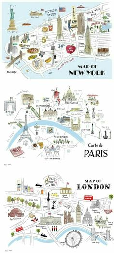 City Map Illustration, Map of London, Map of New York, Map Of Paris - Schule - Viagem Europa Paris Map, London Map, Paris City, Travel Maps, Travel Posters, The Places Youll Go, Places To Go, Travel Illustration, New York Illustration