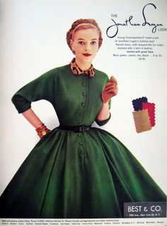 A moss green, wool flannel dress. from Jonathan Logan - It has a wonderful leopard print collar with length sleeves. With a tiny leather belt at the waist. Tartan Dress, Flannel Dress, Sixties Fashion, 1950s Fashion, Vintage Dresses, Vintage Outfits, 1950s Dresses, Vintage Clothing, Logan
