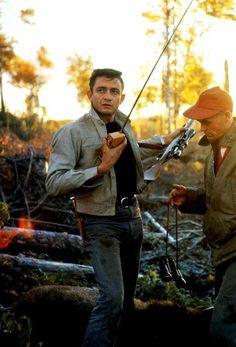 Johnny Cash on a moose hunt in Newfoundland in 1961.