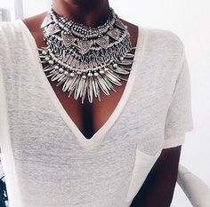 Simple tee with chunky silver.... great!
