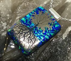 "Tree of life pendant handmade Dichroic glass kiln fused jewellery  3.5cm x 2.5cm /1.5"" X 1"" with 18"" chain gift box  spiritual growth reiki by hotglassfusions on Etsy"