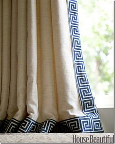 Simple greek key trim added to linen curtains adds instant class and charm