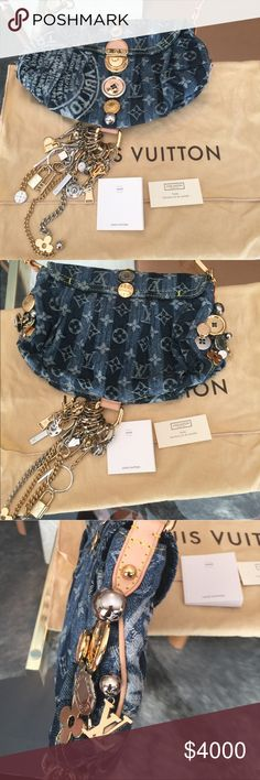 Authentic Louis Vuitton Monogram denim handbag. New, never worn Louis Vuitton handbag. Marc Jacobs reinterpreted the iconic Monogram Denim material for the new 07 Cruise Collection. Gold & Silver buttons, LV symbols, and keychains throughout. Louis Vuitton Bags Shoulder Bags