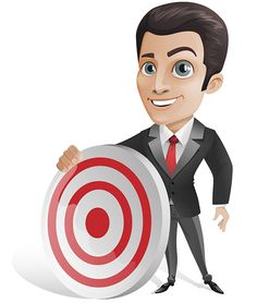 Businessman Character Holding a Target Free Vector